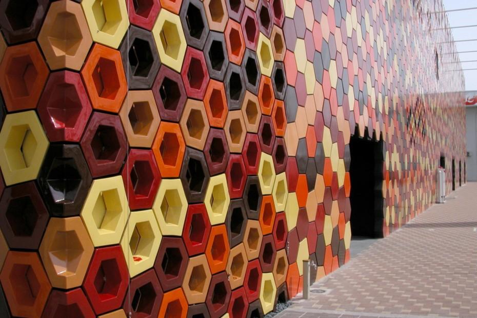 Fassadenbekleidung, Spanischer Expo-Pavillon in Aichí, Japan