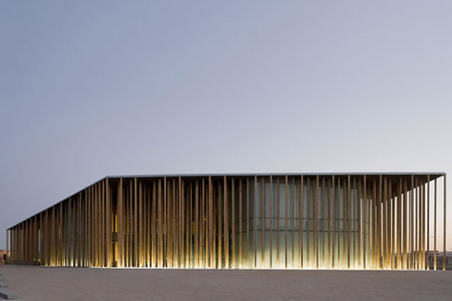Facade Covering Spanish Expo Pavilion Zaragoza Spain By