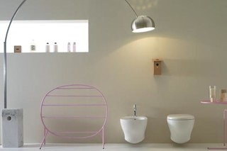 Affetto low floor mounted metal towel rail  by  Ceramica Globo