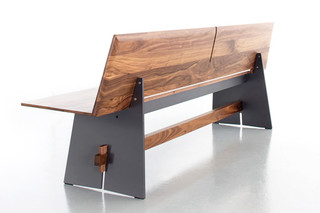 TENSION Wood bench with backrest  by  conmoto