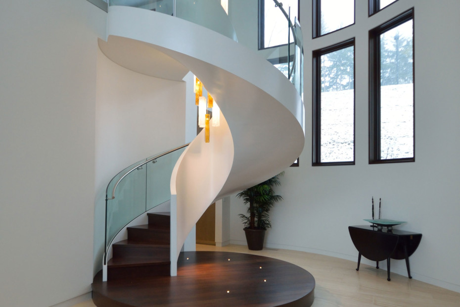 Helical staircase with LEDs