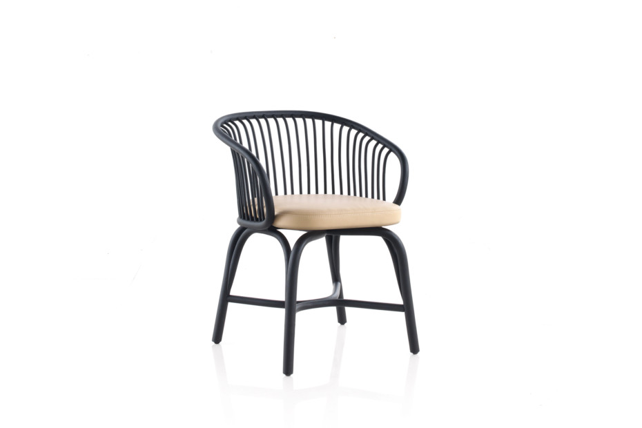 Huma Dining armchair with rattan legs T070 R