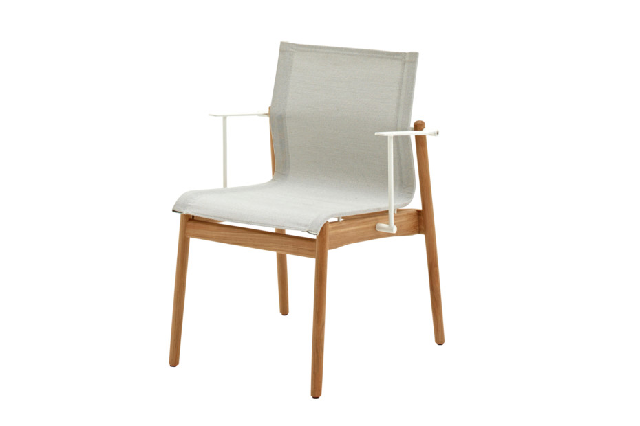 sway teak stacking chair with arms by gloster furniture stylepark