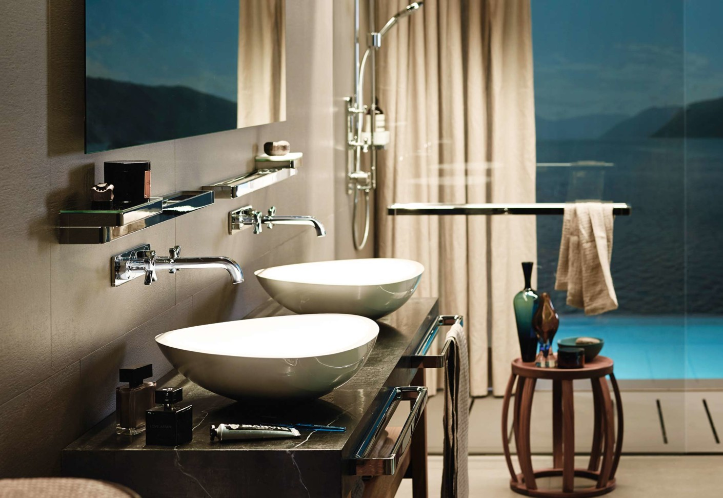 axor citterio e 3 hole basin mixer for concealed installation wall mounted by axor stylepark. Black Bedroom Furniture Sets. Home Design Ideas