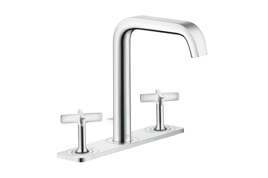 Axor Citterio E 3-hole basin mixer with pop-up waste set and plate