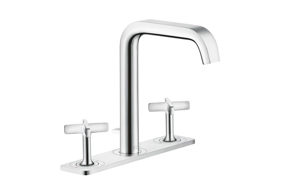 AXOR Citterio E 3-Loch Waschtischarmatur mit Zugstangen-Ablaufgarnitur und Platte