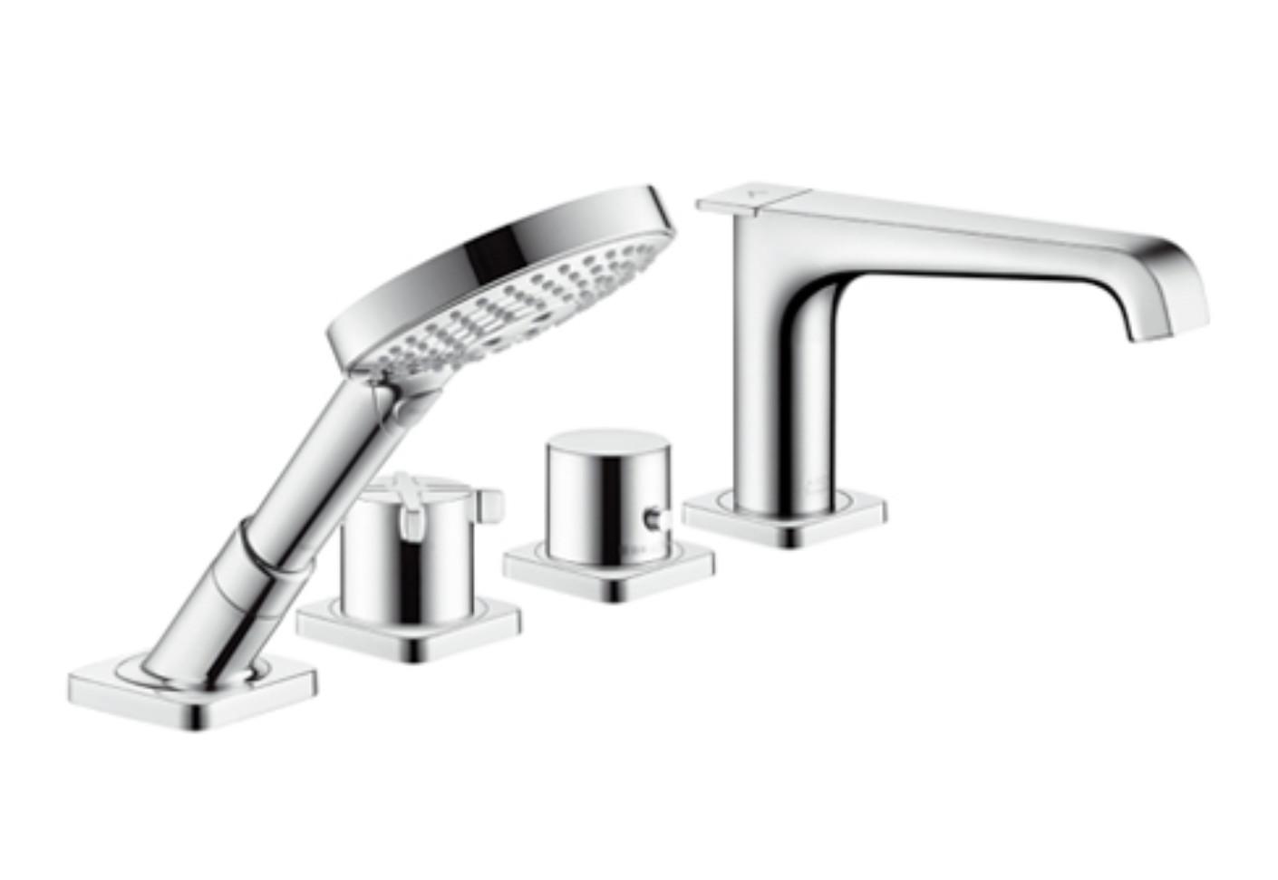 axor citterio e 4 hole rim tile mounted bath mixer by axor stylepark. Black Bedroom Furniture Sets. Home Design Ideas