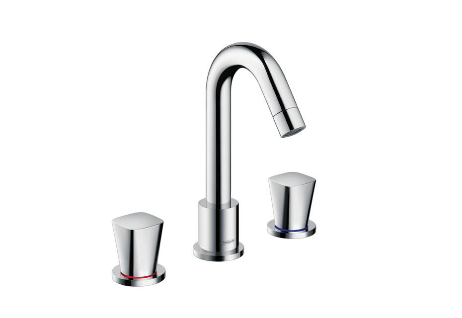 Logis 3-Loch Waschtischarmatur mit Zugstangen-Ablaufgarnitur