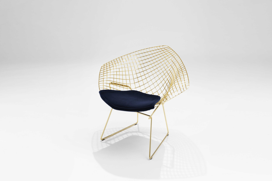 Bertoia Diamond Lounge Chair gold-plated