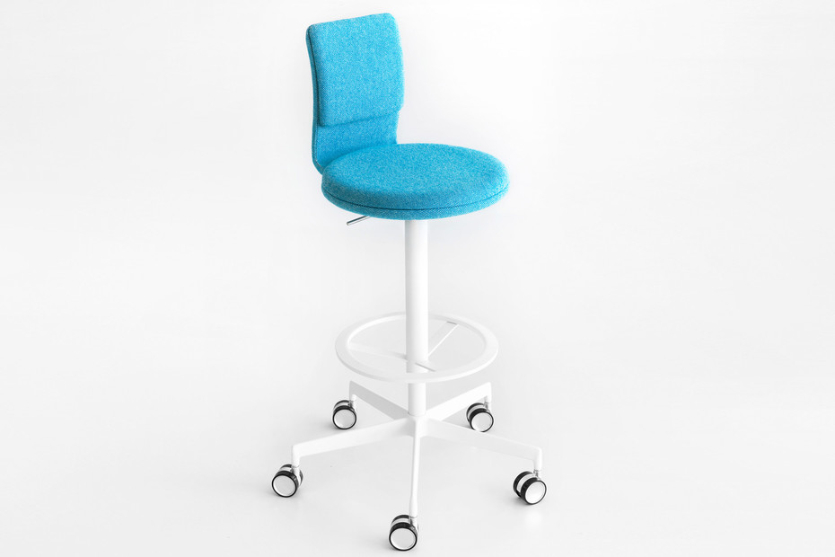 Lab bar stool with back rest