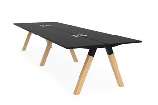 Frankie bench desk wooden A-leg base  by  Martela