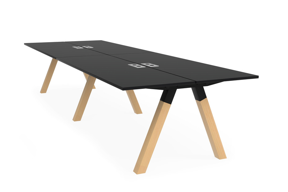 Frankie bench desk wooden A-leg base