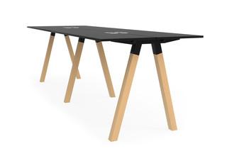 Frankie standing bench desk wooden A-leg base  by  Martela