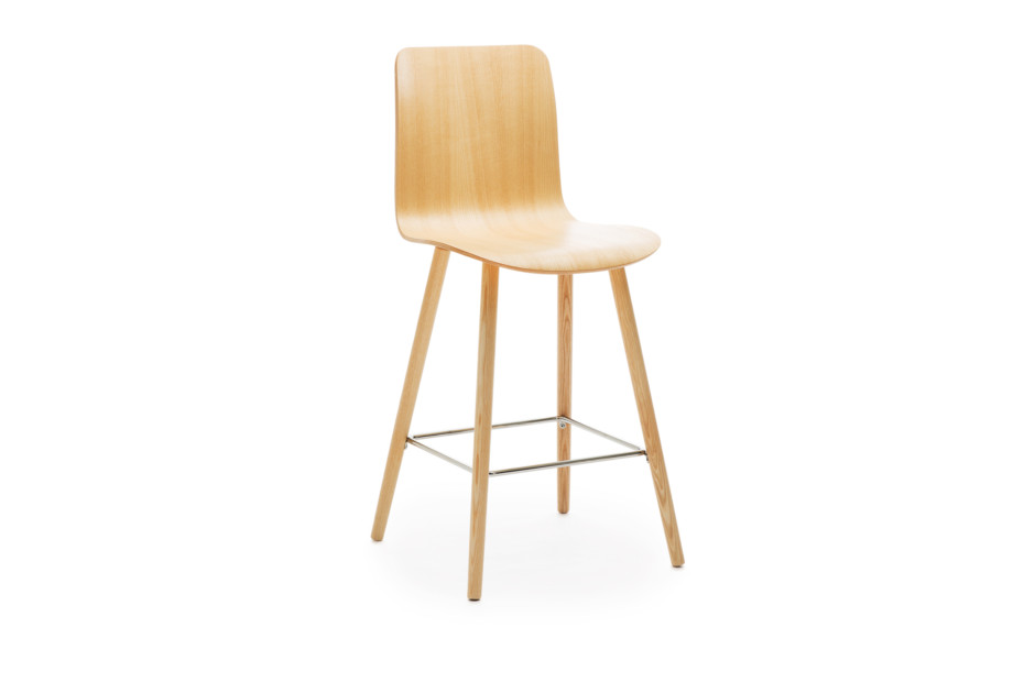 Sola barstool with wooden base and high backrest