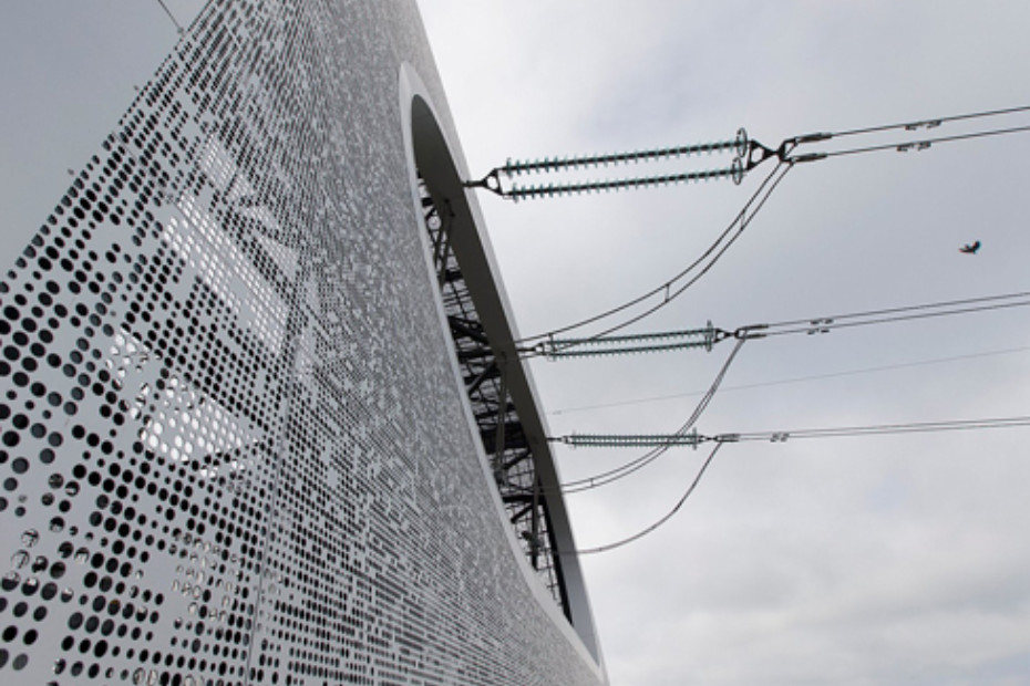 Perforated sheets as cladding, cable transformer stations in Lillebælt