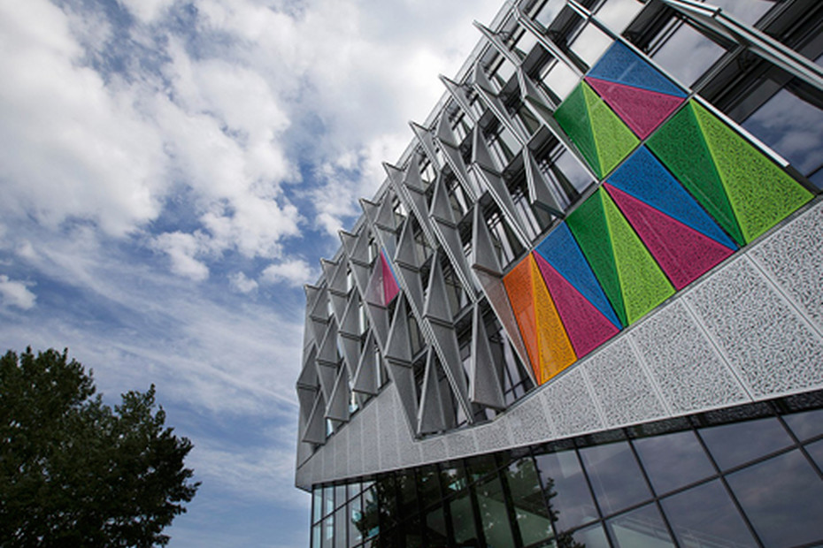 Perforated  triangular screens as cladding, University Campus in Kolding
