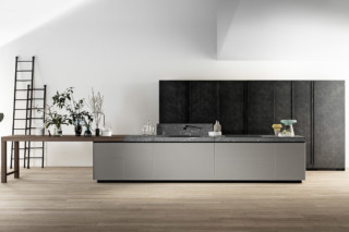 Genius Loci in matt glass and Cardoso stone drawer  by  Valcucine