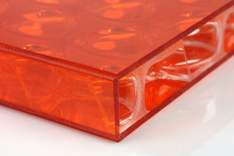 clear-PEP® UV PC color orange with banding