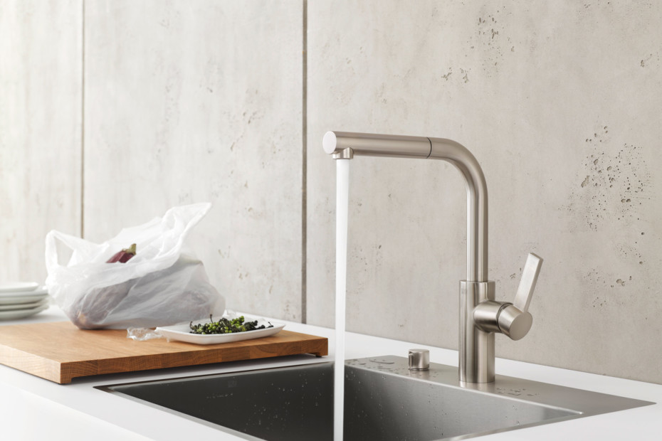 Elio single-lever mixer with retractable outlet / new single basin