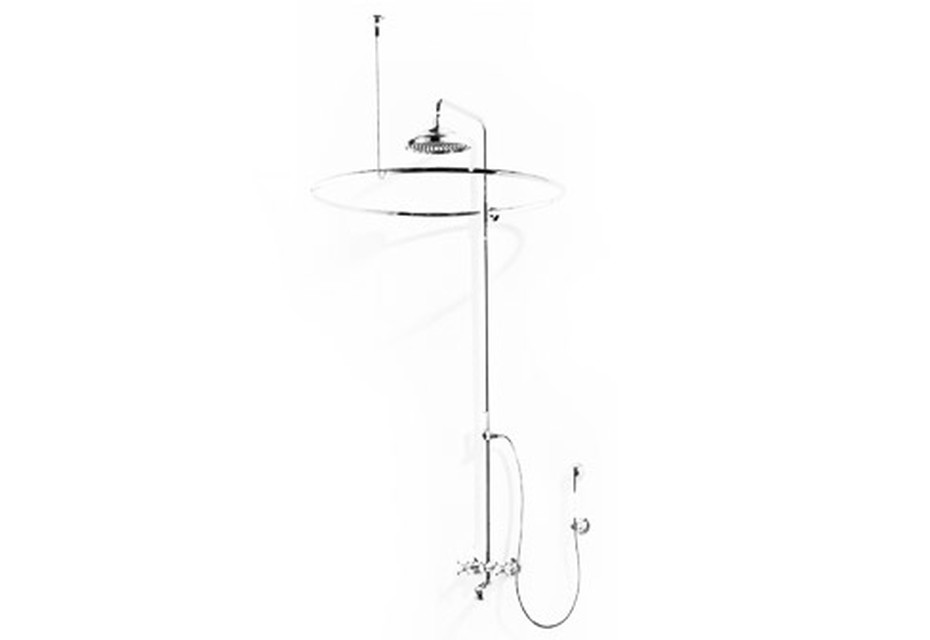 Madison Shower mixer with fixed shower with shower curtain ring