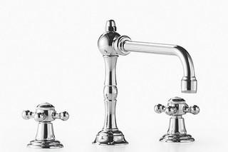 Madison Three-hole mixer with rinsing spray set and cross handles  by  Dornbracht