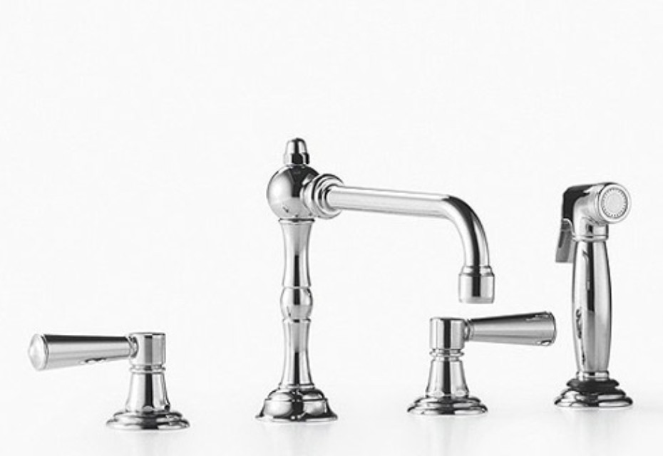 Madison Three-hole mixer with rinsing spray set