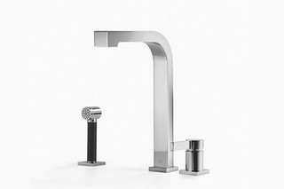 Maro Two-hole mixer with individual rosettes and rinsing spray set  by  Dornbracht