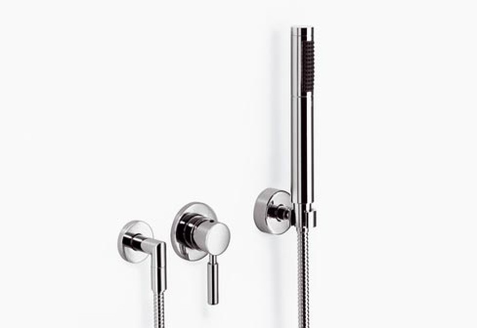Meta.02 Wall-mounted single-lever shower mixer with complete hand shower set, three pieces