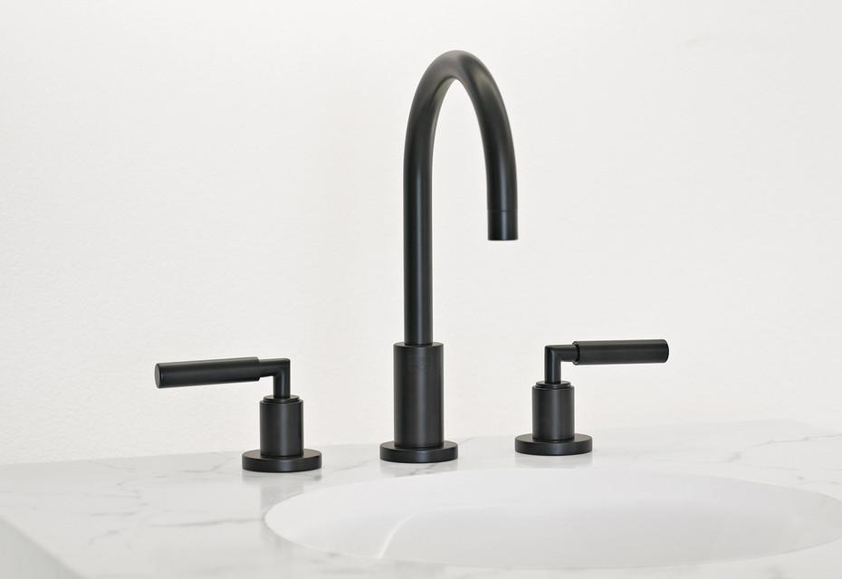 Tara black three-hole basin mixer