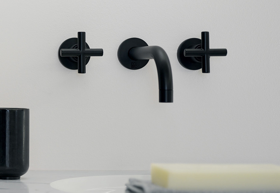Tara black wall-mounted basin mixer