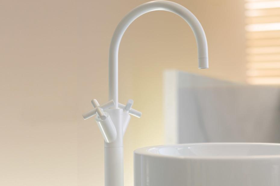 Tara white with extended shank single-hole basin mixer
