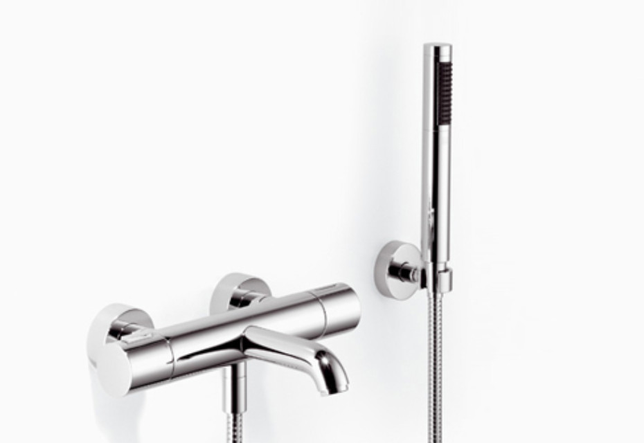 TARA.LOGIC Wall-mounted single-lever bath mixer with/without shower set, rotary handle