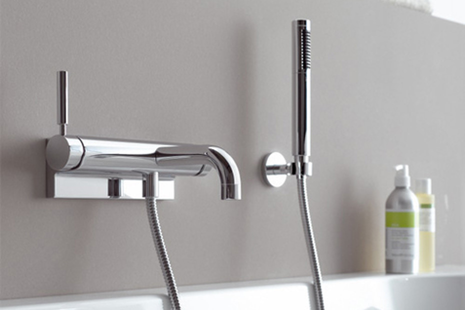 TARA.LOGIC wall-mounted single-lever bath mixer with/without shower set