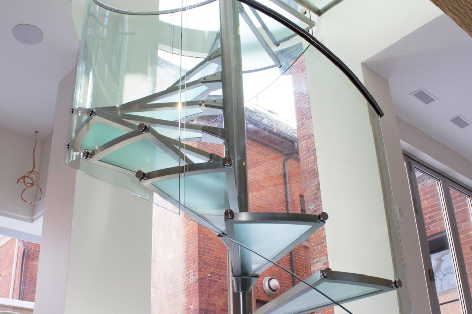 Glass spiral stairs