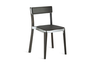 Lancaster Stuhl Dark Ash with brown seatpad  by  Emeco
