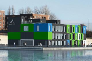Textura grün/weiß/blau, Fassadentafel  von  Eternit Deutschland