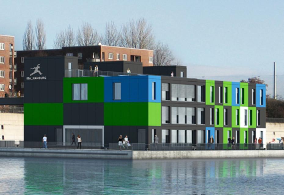 Textura grün/weiß/blau, Fassadentafel