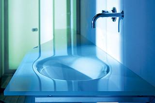 Via Veneto glass top with monobloc basin  by  Falper