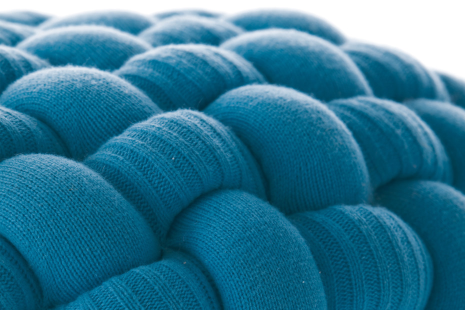 Knitted stools blue