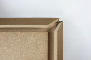 Fold technic │ MDF coated with synthetic leather │ beige  by  Georg Ackermann