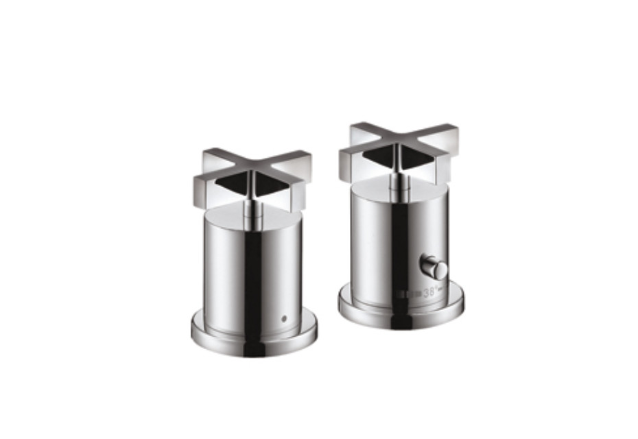 Axor Citterio 2-Hole Thermostatic Rim-Mounted Bath Mixer with cross handles DN15
