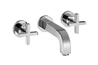 Axor Citterio 3-Hole Basin Mixer for concealed installation with cross handles, escutcheons and spout 162mm DN15, wall mounting  by  Axor