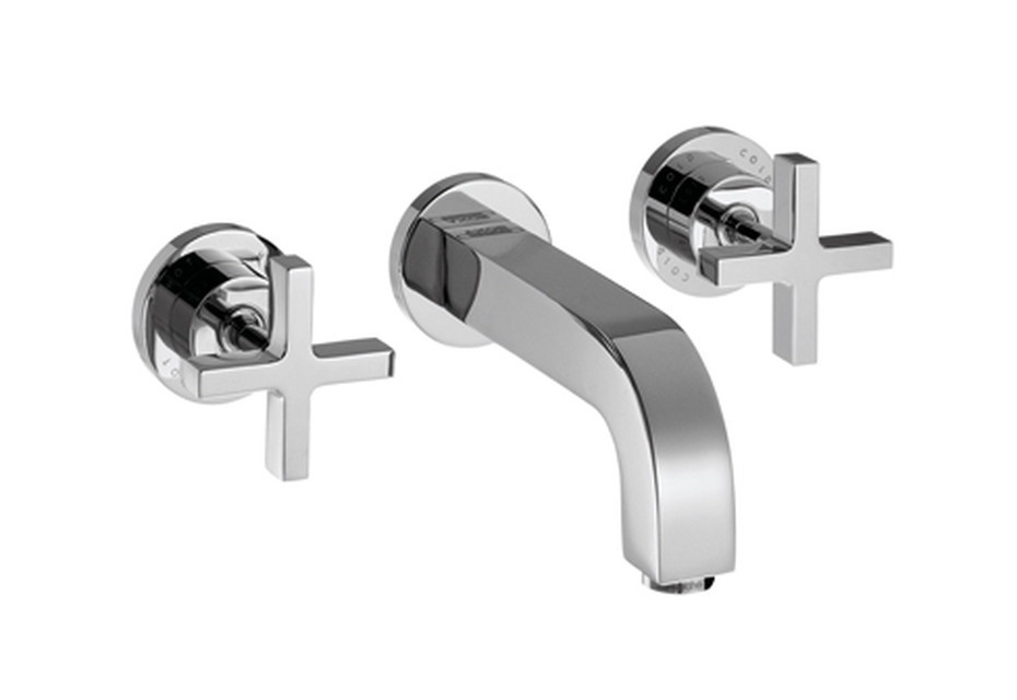 Axor Citterio 3-Hole Basin Mixer for concealed installation with cross handles, escutcheons and spout 162mm DN15, wall mounting