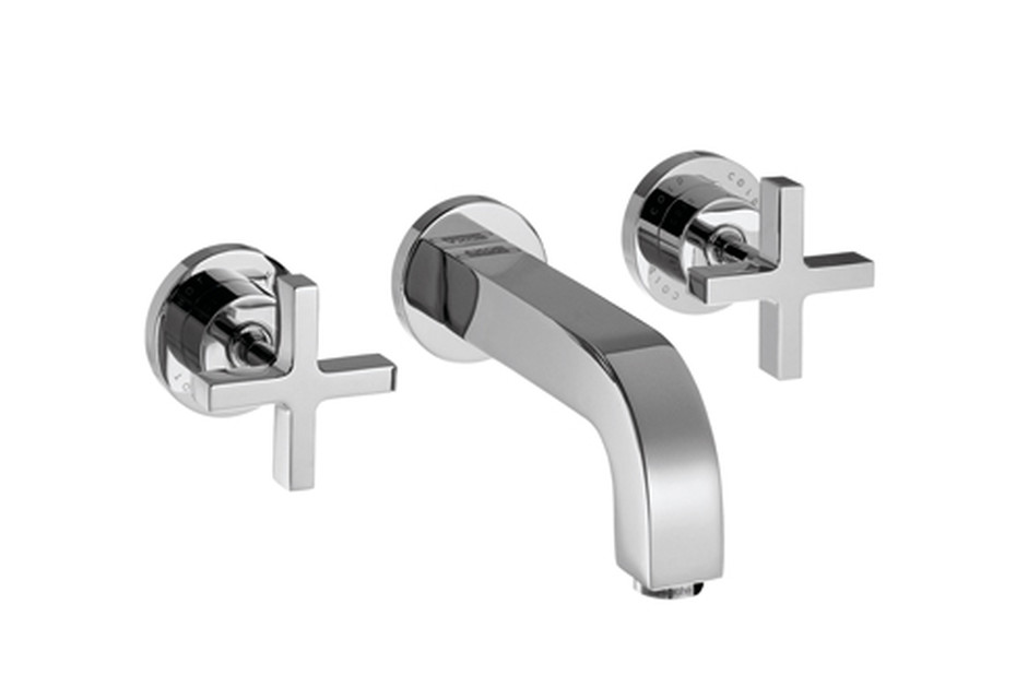 Axor Citterio 3-Hole Basin Mixer for concealed installation with cross handles, escutcheons and spout 222mm DN15, wall mounting