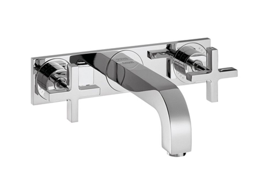 Axor Citterio 3-Hole Basin Mixer for concealed installation with cross handles, plate and spout 226mm DN15, wall mounting