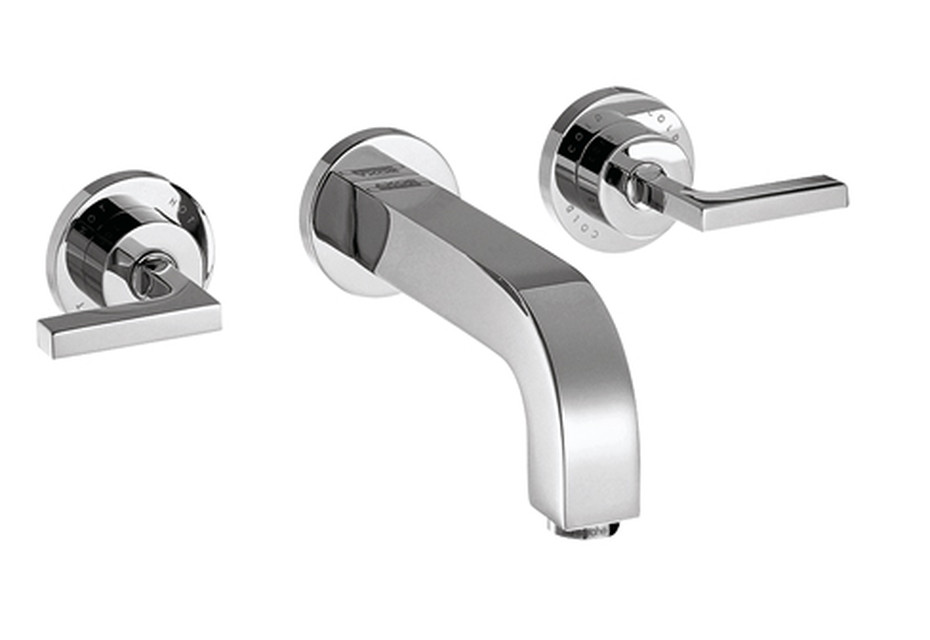Axor Citterio 3-Hole Basin Mixer for concealed installation with lever handles, escutcheons and spout 162mm DN15, wall mounting