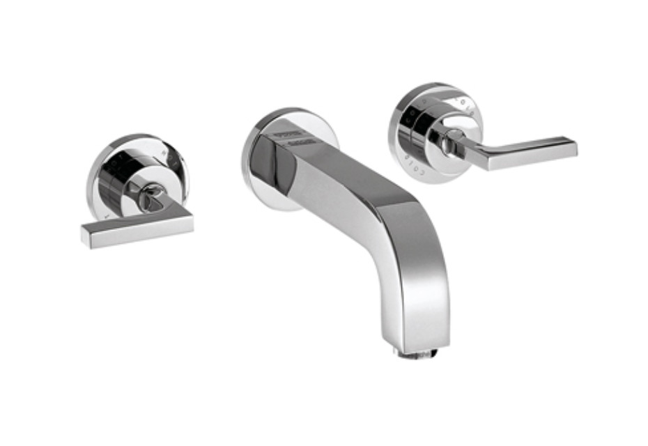 Axor Citterio 3-Hole Basin Mixer for concealed installation with lever handles, escutcheons and spout 222mm DN15, wall mounting