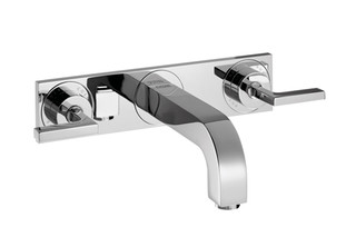 Axor Citterio 3-Hole Basin Mixer for concealed installation with lever handles, escutcheons and spout 226mm DN15, wall mounting  by  AXOR