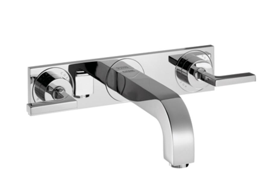 Axor Citterio 3-Loch Waschtischarmatur Unterputz mit Hebelgriffen, Platte und Auslauf 226mm DN15, Wandmontage
