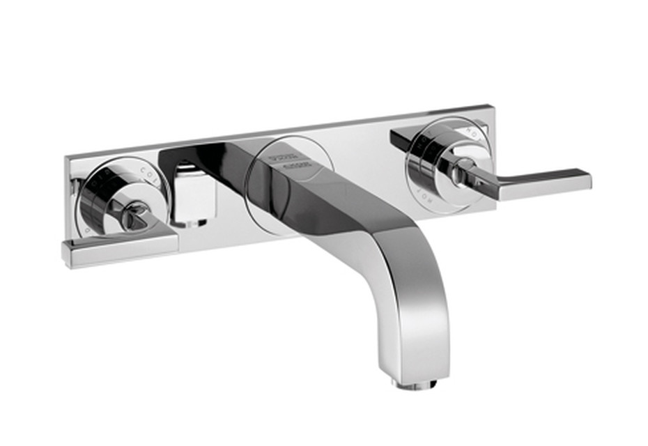 Axor Citterio 3-Hole Basin Mixer for concealed installation with lever handles, escutcheons and spout 226mm DN15, wall mounting